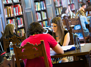 Students studying in Copley Library